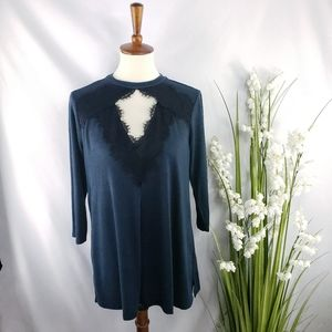 Maurices 3/4 Sleeve Black & Teal Tunic Size